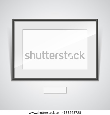 Illustration of a black frame with a white mat on a white wall. vector - stock vector