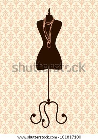 Illustration of a black tailor's mannequin against damask background. - stock vector