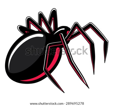 illustration of a black widow spider - stock vector