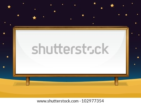 illustration of  a blank banner at night - stock vector