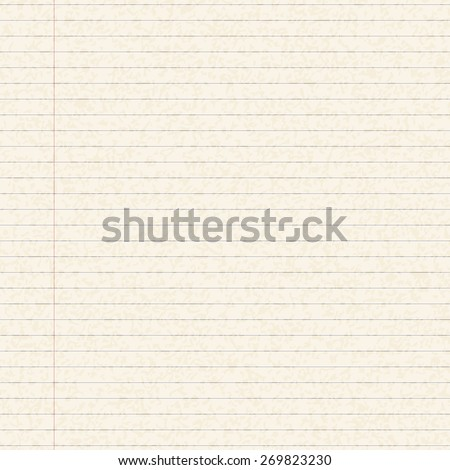 Illustration of a blank sheet of lined paper - stock vector