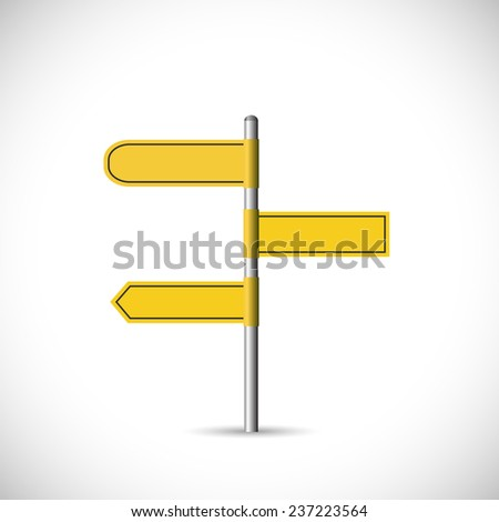 Illustration of a blank yellow signpost isolated on a white background. - stock vector