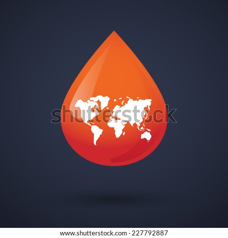 Illustration of a blood drop icon with a world map