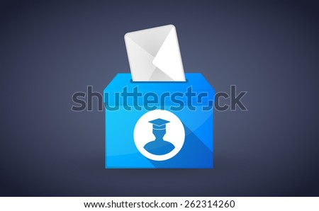 Illustration of a blue ballot box with a student - stock vector