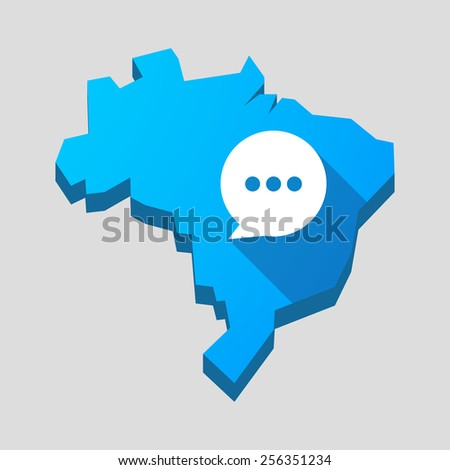 Illustration of a blue Brazil map with a comic balloon - stock vector