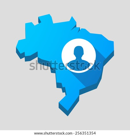 Illustration of a blue Brazil map with a male avatar - stock vector