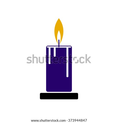 Illustration of a blue candle with fire