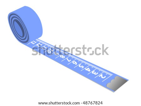 Illustration of a blue measuring tape isolated on white background - stock vector