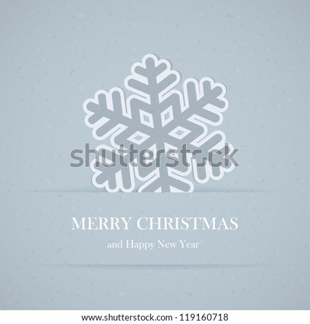 Illustration of a blue paper snowflake. - stock vector