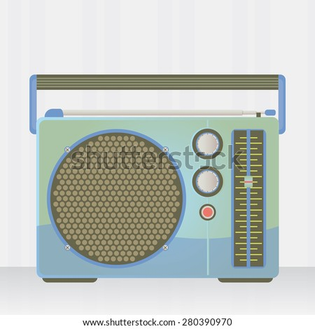 Illustration of a blue radio vintage over a gray background.