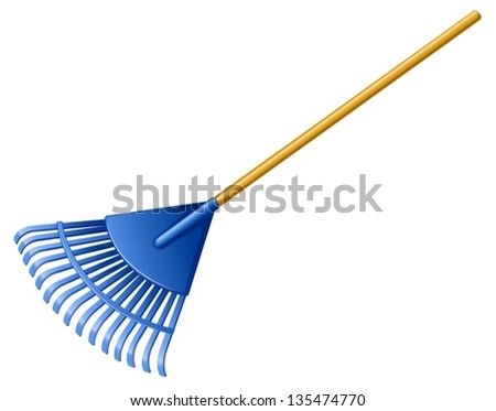 Illustration of a blue rake on a white background - stock vector