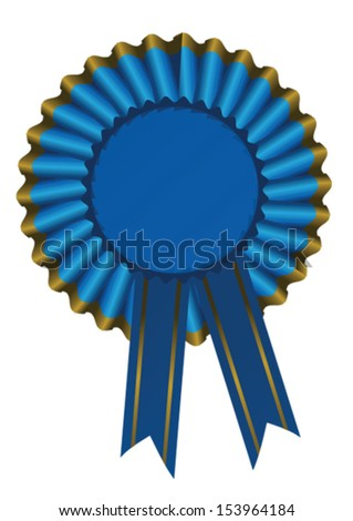 illustration of a blue ribbon award with gold trim - stock vector