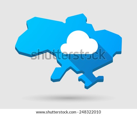 Illustration of a blue Ukraine map icon with a cloud
