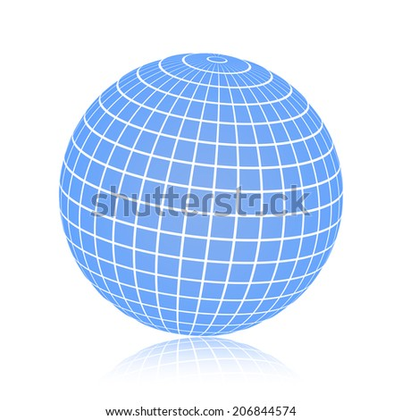 Illustration of a blue wire frame planet sphere, isolated on a white background. Vector illustration, eps 10. - stock vector