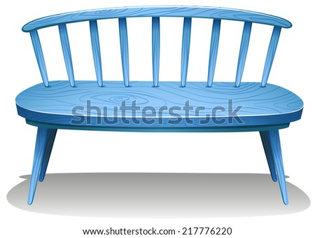 Illustration of a blue wooden bench on a white background  - stock vector