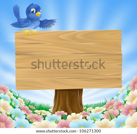 Illustration of a bluebird sitting on top of a woodland wood sign gesturing with its wing in a field of wild flowers - stock vector