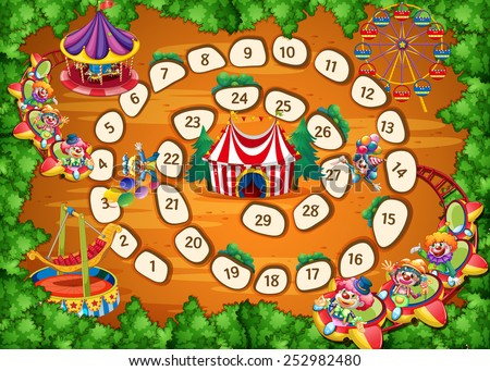 Illustration of a boardgame with carnival background - stock vector