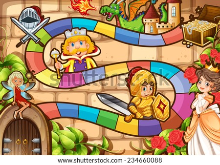Illustration of a boardgame with fairytale background - stock vector