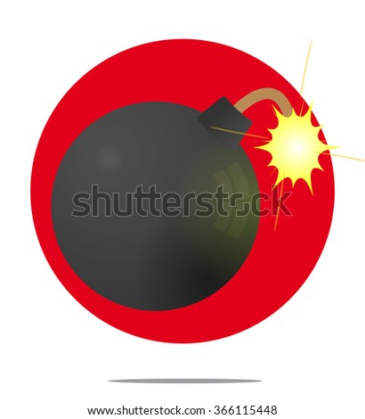 Illustration of a bomb with red circle background - stock vector