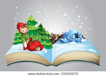 Illustration of a book of christmas - stock vector