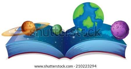 Illustration of a book of solar system - stock vector