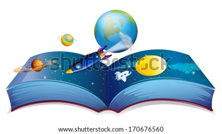 Illustration of a book showing the earth and other planets on a white background - stock vector