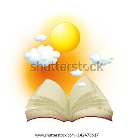 Illustration of a book with a story about the sun on a white background