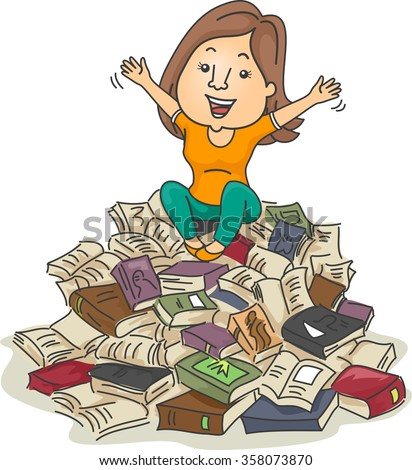 Illustration of a Bookworm Sitting on a Pile of Books - stock vector