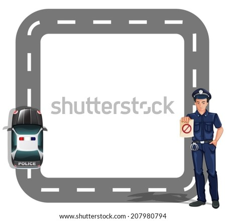Illustration of a border design with a policeman and a patrol car on a white background - stock vector