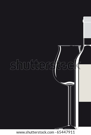 Illustration of a bottle and a glass with white outlines and black background
