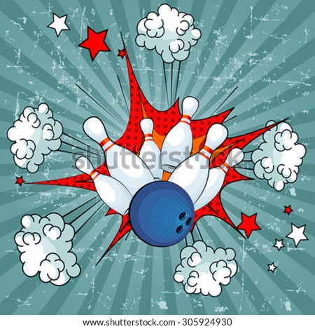 Illustration of a bowling ball strike with falling pins - stock vector