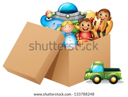 Illustration of a box full of different toys on a white background - stock vector