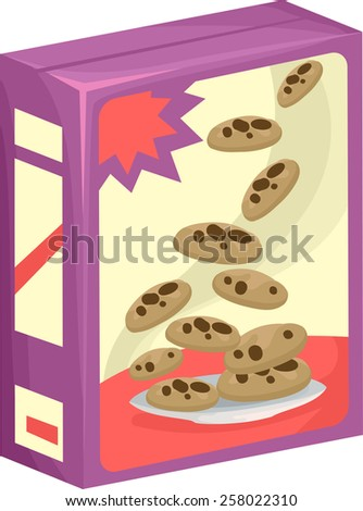 Illustration of a Box of Chocolate Chip Cookies - stock vector