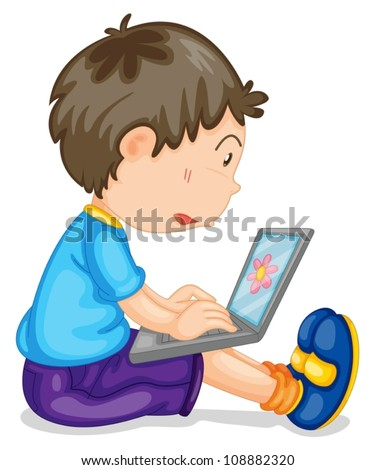 illustration of a boy and laptop on a white - stock vector