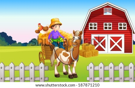 Illustration of a boy at the farm - stock vector