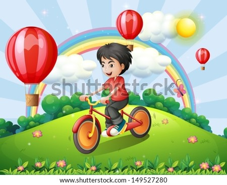 Illustration of a boy biking at the hilltop with a rainbow and floating balloons - stock vector