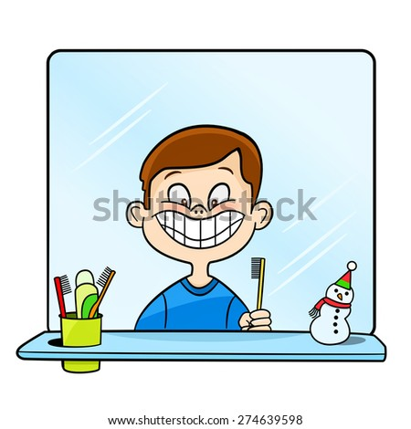 illustration of a boy brushing teeth on a white background - stock vector