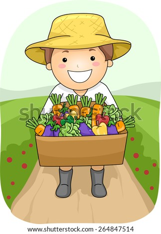 Illustration of a Boy Carrying a Wooden Box Full of Vegetables - stock vector
