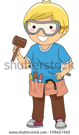 Illustration of a Boy Carrying Wood Carving Materials - stock vector
