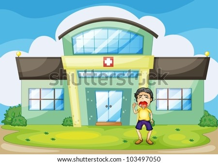 Illustration of a boy crying at hospital - stock vector