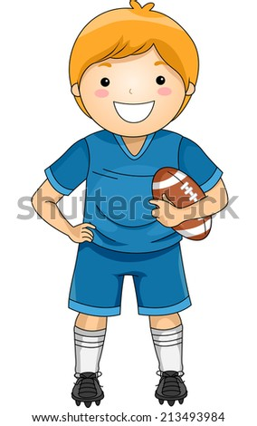 Illustration of a Boy Dressed in Football Gear - stock vector
