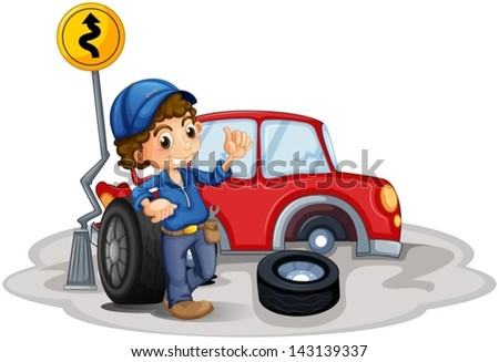 Illustration of a boy fixing a red car on a white background
