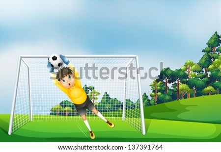Illustration of a boy in a yellow uniform catching the ball - stock vector