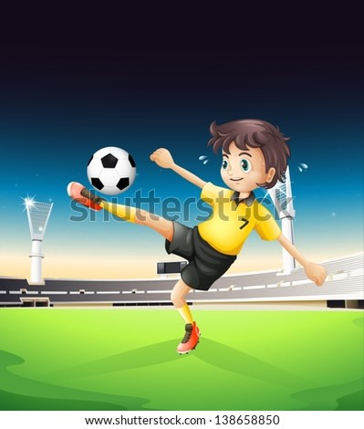 Illustration of a boy in a yellow uniform playing soccer in the soccer field in the soccer field - stock vector