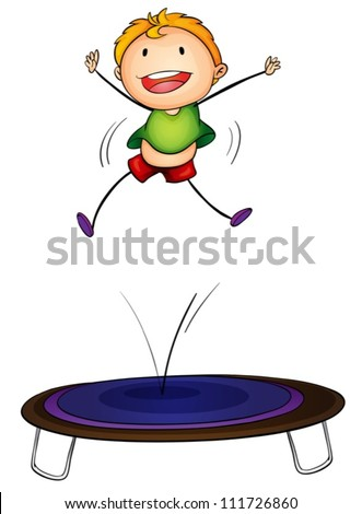 Illustration of a boy jumping on a trampoline - stock vector