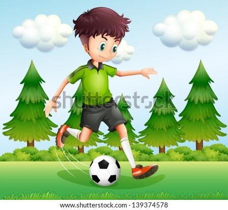 Illustration of a boy kicking the ball near the pine trees - stock vector