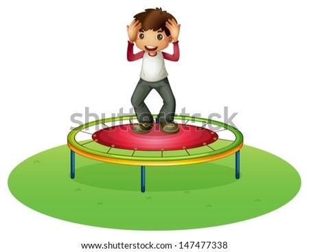 Illustration of a boy on a trampoline on a white background