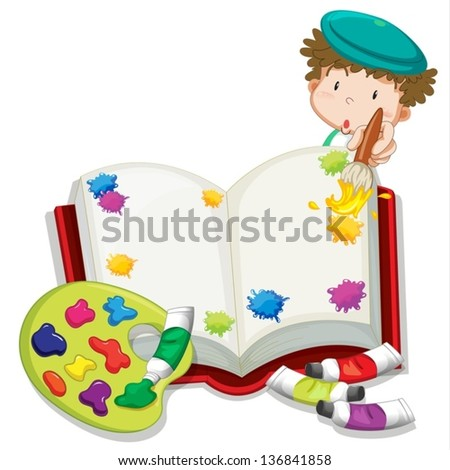 Illustration of a boy painting a book on a white background - stock vector