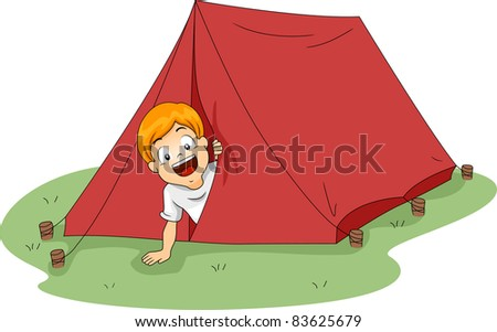 Illustration of a Boy Peeking From a Tent - stock vector