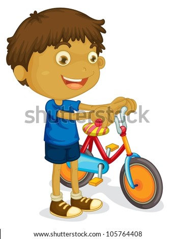 illustration of a boy playing bicycle on a white background - stock vector